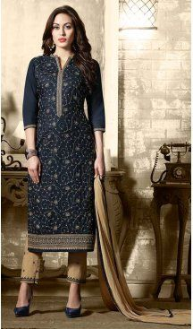 Navy Blue Color Cotton Embroidery Casual Salwar Kameez | FH582385873 Follow us @heenastyle #casualwaer #designersuits #salwarkameez #anarkalis #indiandesigner #desifashion #bollywoodstyle #salwar #chudidar #indianfashion #traditional #beauty #desicouture #pakistani #pakistaniwedding #pakistanibride #southindian #couture #cottonsalwarkameez #embroiderysalwarkameez #straightcutsalwarkameez #churidarkameez #churidarsuits #churidardresses #casualsalwarkameez #casualdresses #casualsuits…