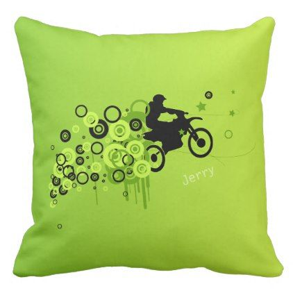Cool Motorcyclist | Green Throw Pillow - fun gifts funny diy customize personal