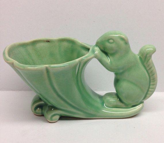 vintage cornucopia vases | Vintage McCoy Pottery Squirrel Cornucopia Planter Pale Green 6 inch