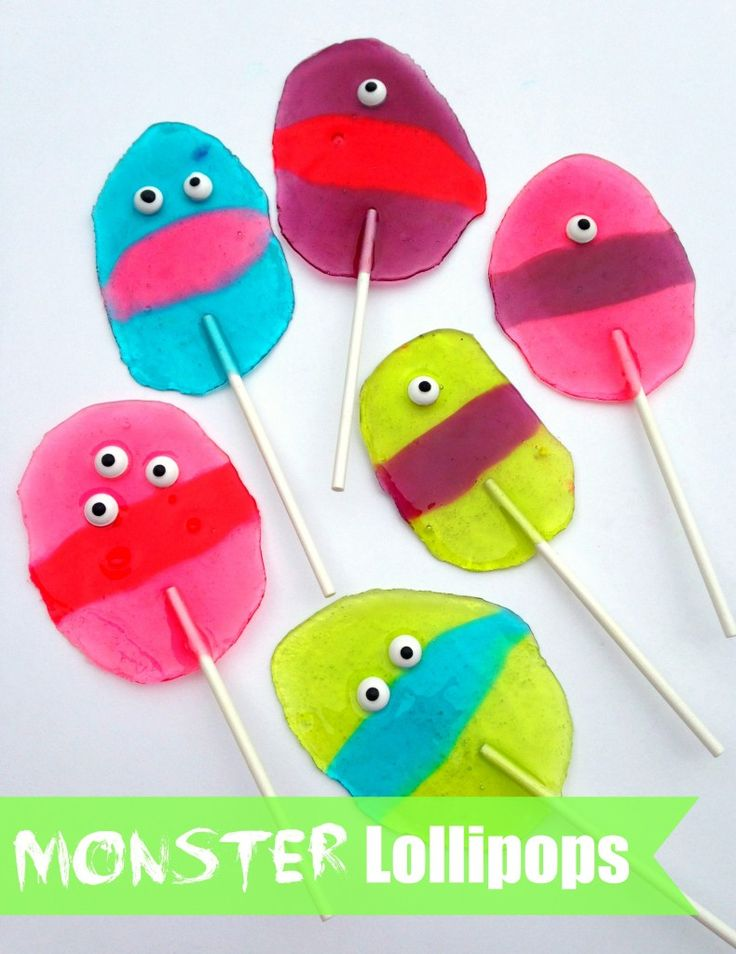 Make Monster Lollipops with Jolly Ranchers and candy eyes. #MonstersU #sponsored