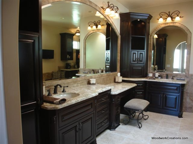 Like light floor and counter top with dark cabinet my for Bathroom cabinets las vegas