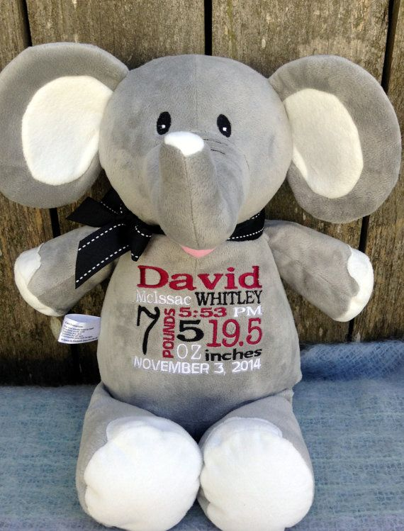 New baby 147 pinterest personalized baby gift elephant stuffed animal embroidered birth announcement new baby boy girl gift world class embroidery negle Images