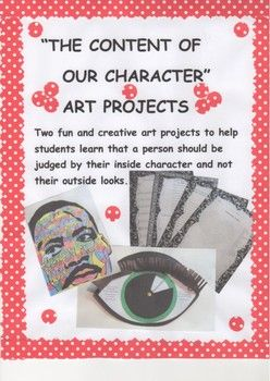 This packet includes two fun and creative art projects to help students learn the importance of judging someone by the content of their character and not by their outside looks. Along with the two art projects there is a drawing and writing assignment,a word search, and word jumble.