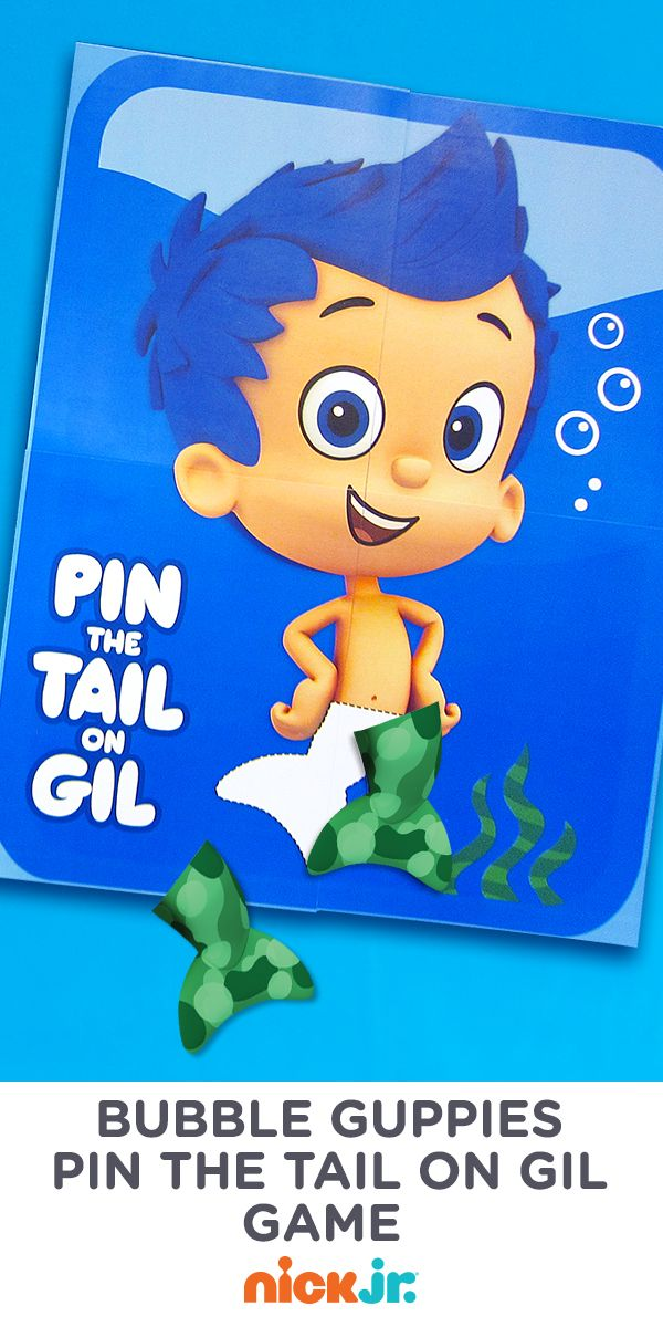 Print this fin tastic bubble guppies game and pin the tail on gil george and charlotte - Bubble guppies birthday banner template ...