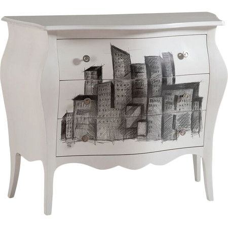 £517.95 An eye-catching addition to your contemporary living room or teen's bedroom, this eclectic made to order 3-drawer chest features a hand-decorated cityscape d...