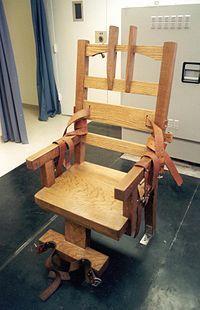 Michel moest een werkstuk maken over de doodstraf, waar onder meer de elektrische stoel ter sprake kwam.