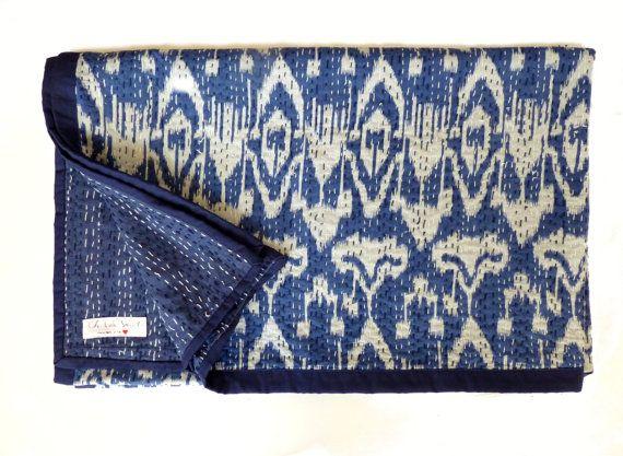 Indigo Blue Kantha Quilt // Queen Quilt // Blue Bedspread on Etsy, $111.69