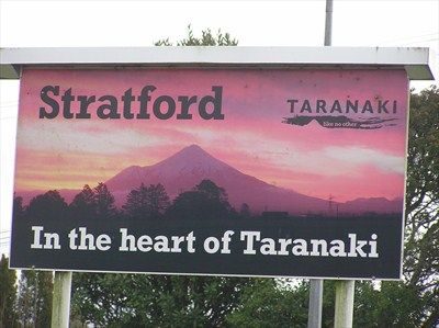 Stratford Sign. Taranaki. New Zealand. - Pictorial Village Signs on Waymarking.com