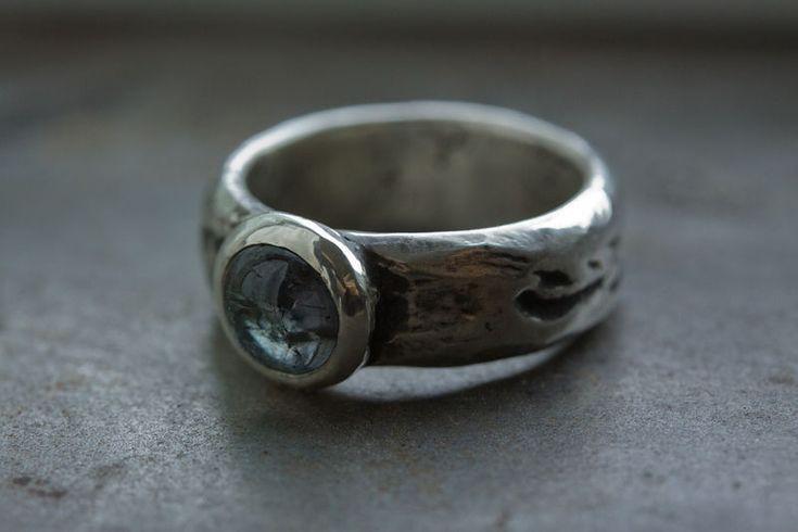 Купить Nebula - кольцо с турмалином, натуральный турмалин, широкое серебряное кольцо, кольцо с камнем, кабошон