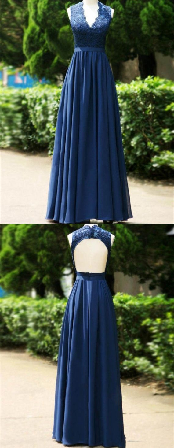 A-line Bridesmaid Dresses,V Neck Bridesmaid Dresses,Long Bridesmaid Dresses,Pleated Bridesmaid Dresses,Open Back Bridesmaid Dresses,Dark Blue Bridesmaid Dresses,Lace Bridesmaid Dresses,Bridesmaid Dresses 2017