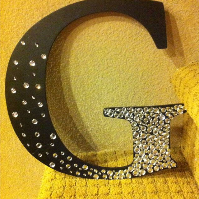 Add this to my H wall!: Rhinestone Letter, Gift, Girl, Cute Ideas, Bejeweled Letter, Diy, Craft Ideas