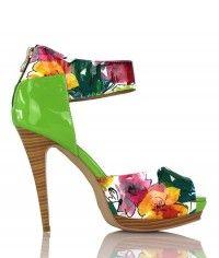 Shoes www.shoeenvy.com.au Barbados - Women's gloss floral patent green sandal high heels $129