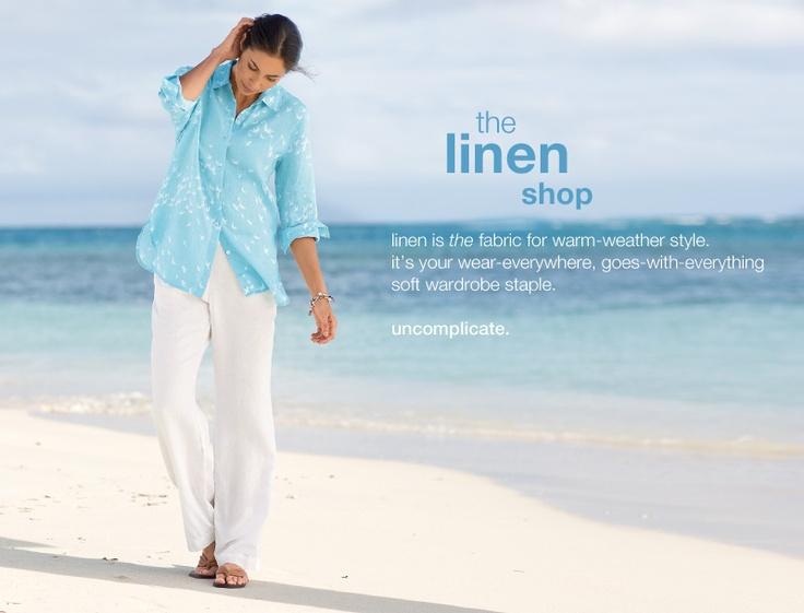 printed linen big shirt, perfect tank, easy linen flat-front pants