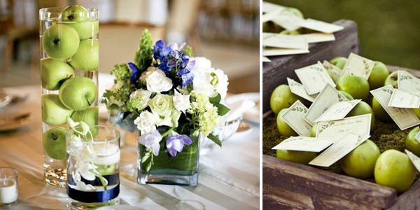 Зеленые яблоки в оформлении свадьбы