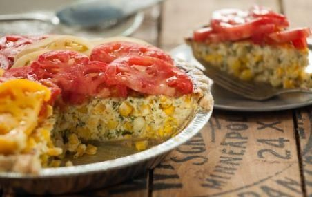 Savory Corn Tart with Heirloom Tomatoes // This show-stopping tart makes a great brunch dish, and is especially fun at a picnic! #summer #tart #recipe