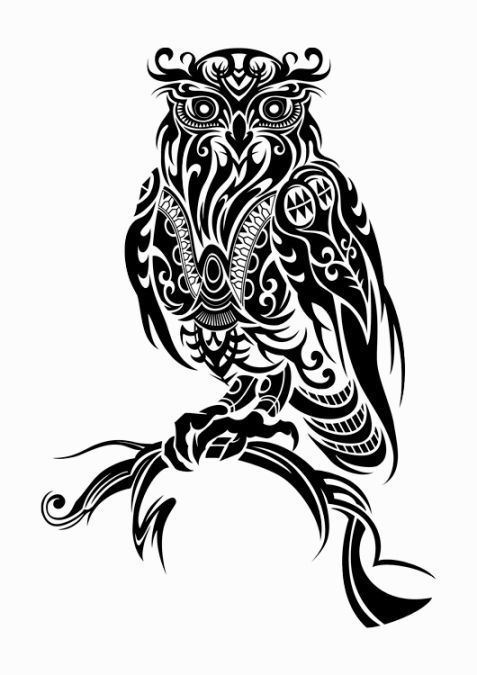 Tribal Owl Tattoo | Wedubox.co
