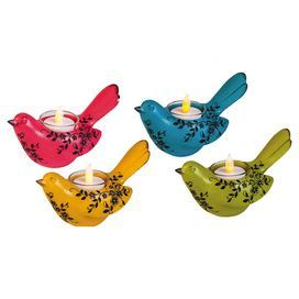 """Bring a touch of charm to your parlor or dining room with this eye-catching candleholder, showcasing a bird design and floral motif.   Product: Set of 4 candleholdersConstruction Material: PolystoneColor: Pink, blue, yellow, and greenAccommodates: (1) Candle - not includedDimensions: 3"""" H x 3.5"""" W x 5.79"""" D"""
