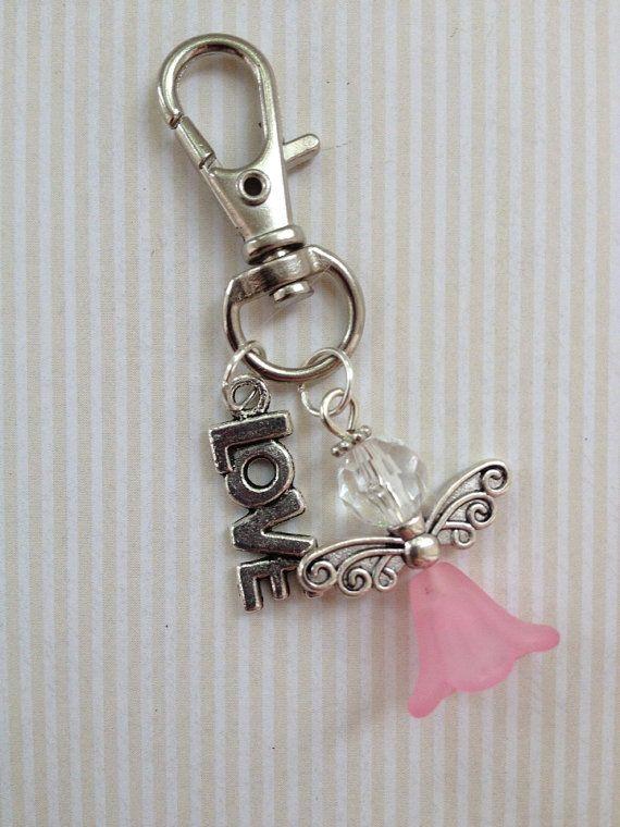 Beaded Bag Charm/keychain- Pink angel