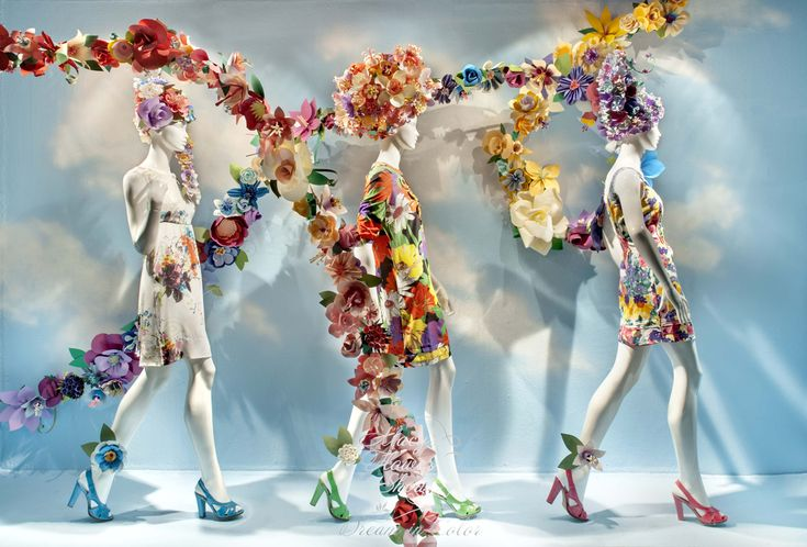 Beautiful design, handmade paper flowers for a Macy's window by eloise corr danch