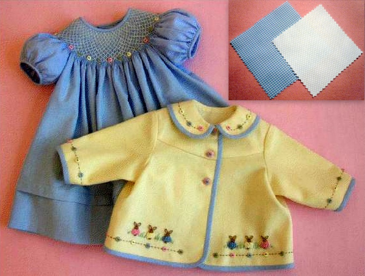 Buttons and Bunnies - Riviera Pique w/ Blue Pima Micro check - Sizes 6 Months - 3 Years. $75.00, via Etsy.