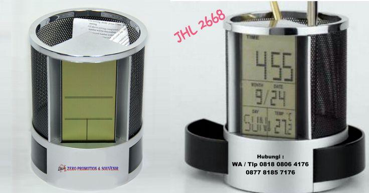 Jual Jam Meja promosi - Pen Holder & Desk Clock JHL 2668