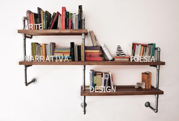 Zefiro libreria modulare in legno tubi idraulici e for Tubi idraulici arredamento