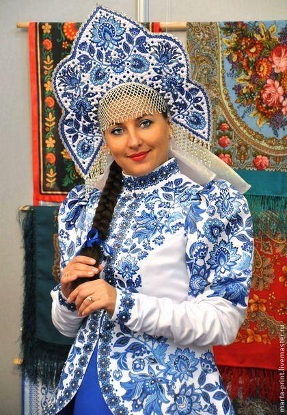 Синий цветок - синий,народный костюм,гжель,русский костюм,русский народный костюм http://www.livemaster.ru/item/7847505-odezhda-sinij-tsvetok