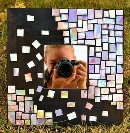 how to recycle your cds and make a mosaic mirror.