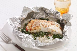 Foil-Pack Fish Florentine for Two recipe    I love making foil packets; they're quick and easy cleanup! Might try this with something other than halibut!