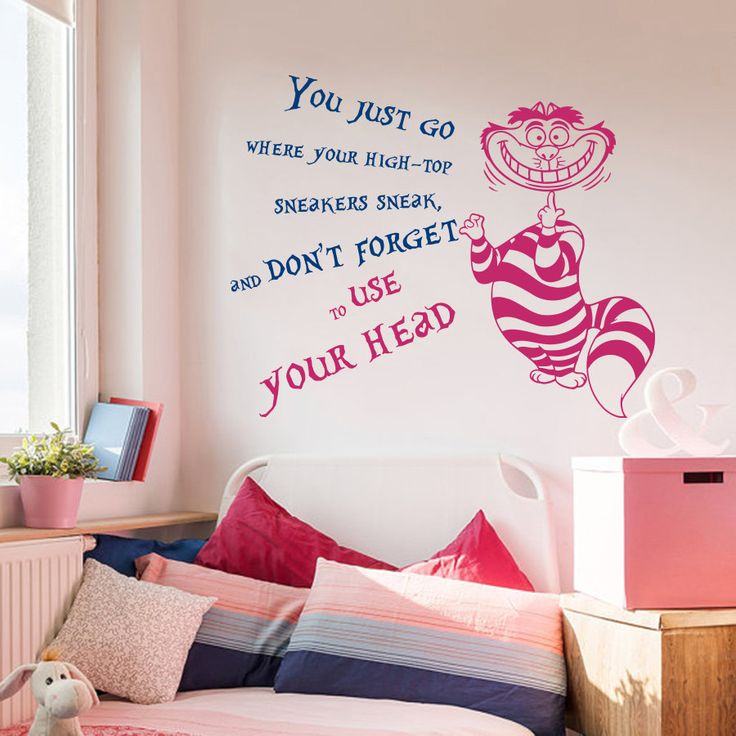 Home Decal Cheshire Cat Alice In Wonderland Wall Sticker Quote You Just Go  Donu0027t Part 77
