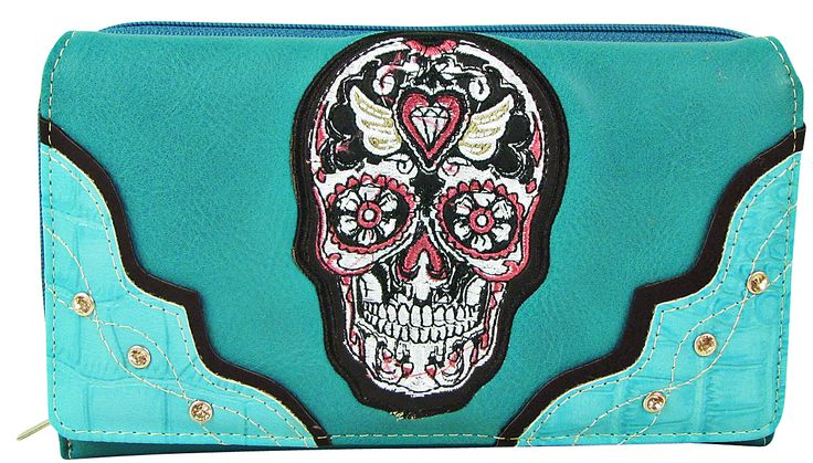 Turquoise Studded Colorful Skull Look Design Checkbook Wallet for those unplanned shopping trips. Buy it on www.ladyvoguefashion.com