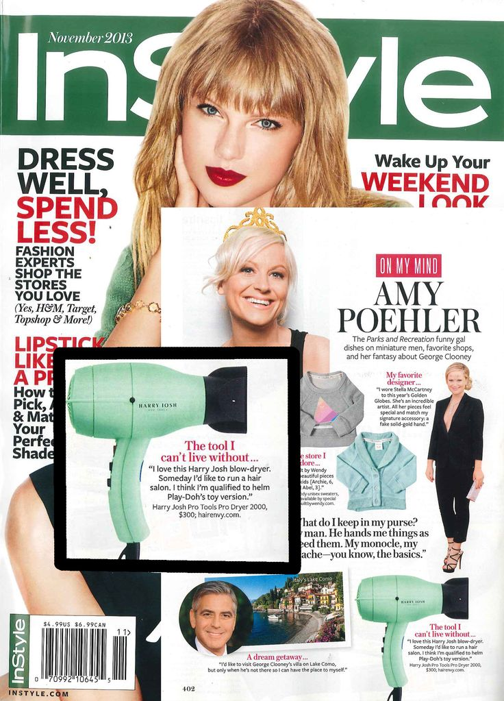 Amy Poehler can't live without her Harry Josh Blow Dryer!- InStyle, November 2013