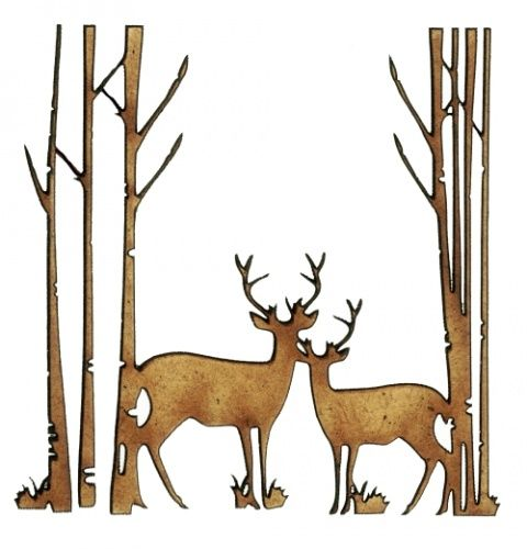 Winter Deer Scene Style 6 - MDF Wood Shape