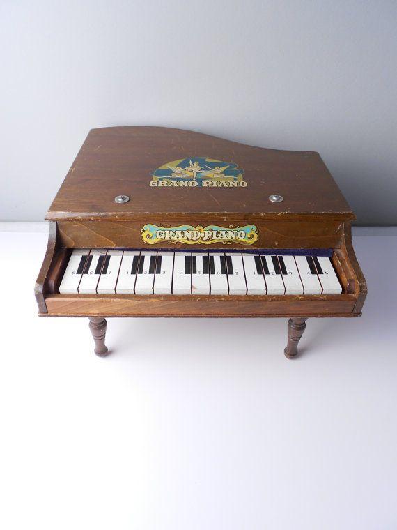 antique children u0026 39 s brown wooden grand piano musical toy