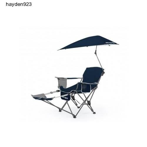 Reclining-Outdoor-Folding-Chair-Umbrella-Lounge-Beach-Patio-Sport-Brella-Blue