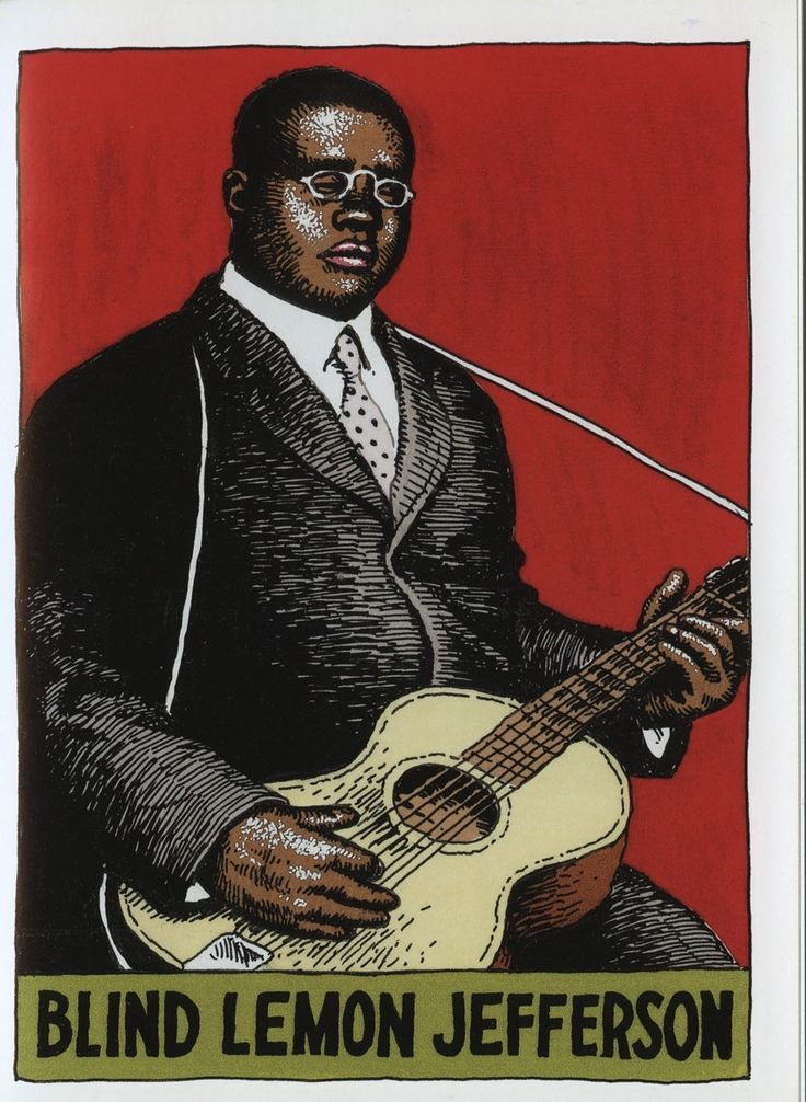 Blind Lemon Jefferson - label nr 9 - Heroes of the Blues by R. Crumb - http://www.celticguitarmusic.com/crumb.htm