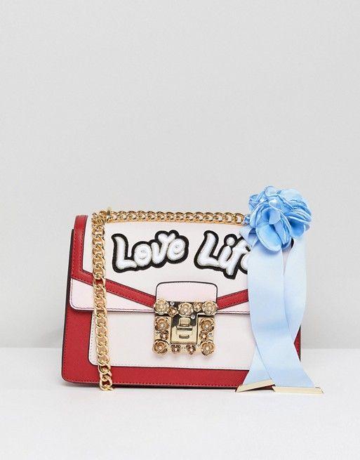 64b60f4ac82 ALDO Top Handle Cross Body Bag with Love Life Embroidery