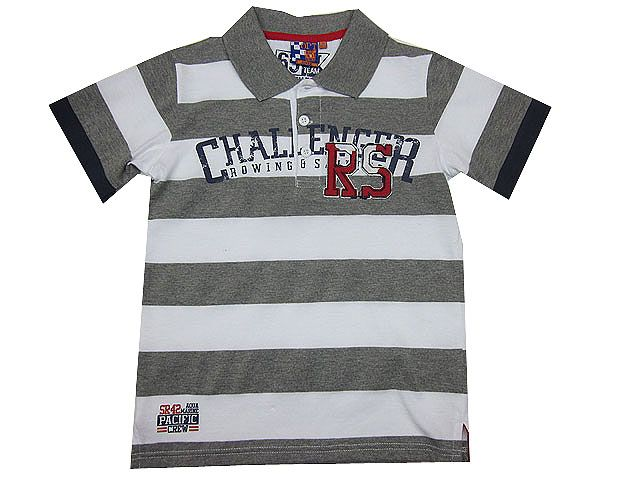 Polo de manga corta niño para en algodón con rayas en gris y blanco - Polos y Camisetas para Niño de 2 a 16 Años - Mundo Kiriko
