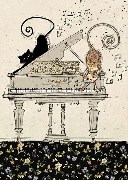 Piano Cats - by Jane Crowther for Bug Art greeting cards.