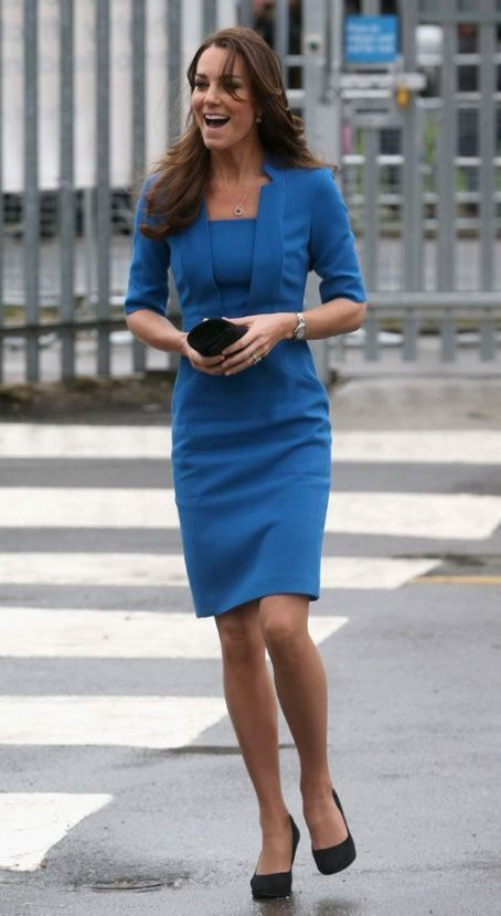 Kate Middleton wearing Garrards Jewellers Royal Engagement Ring, Episode Angel Pumps, Mappin & Webb Fortune White Gold Drop Pendant Necklace, L.K.Bennett Detroit Notch-Collar Fitted Dress in Blue Snorkel, Ballon Bleu De Cartier Stainless Steel Watch, Kiki Mcdonough Classic Green Amethyst and Diamond Cushion Drop Earrings and Tiffany & Co. Diamond Band Ring.