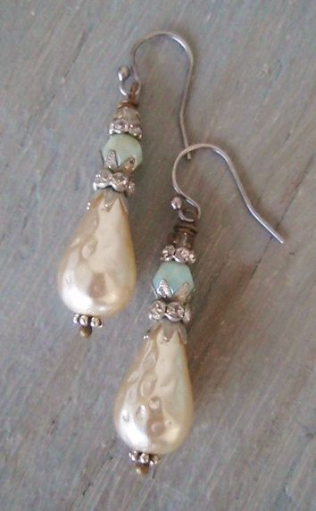 Vintage dimpled pearl earrings Jester sterling silver sparkily rhinestones , rustic mint seafoam green , spring boho bride , bridal