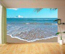 Plaj Köpükler Resimli Duvar Kağıdı