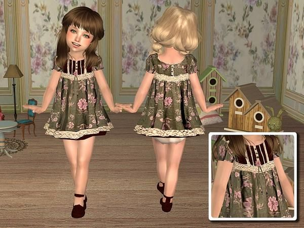 angelkurama's Dress with Floral Prints for Toddler - Green