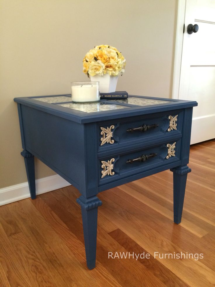 Beautiful Ornate End Table With Glass Panel Tops And One Drawer For  Storage, Hand Painted Navy Blue With White/mocha Details. The Photos Donu0027t  Do This Table ...