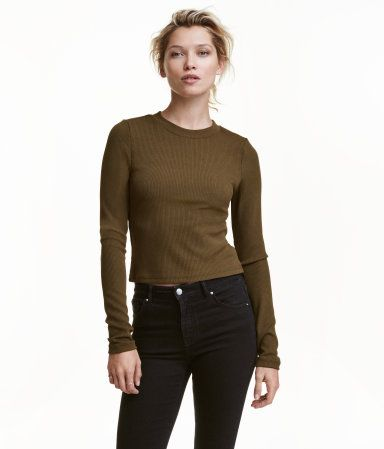 Geripptes Shirt   Khakigrün   Damen   H&M AT