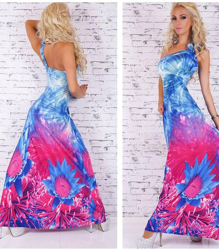 Υπέροχο μάξι φόρεμα με ενα ώμο-μπλέ