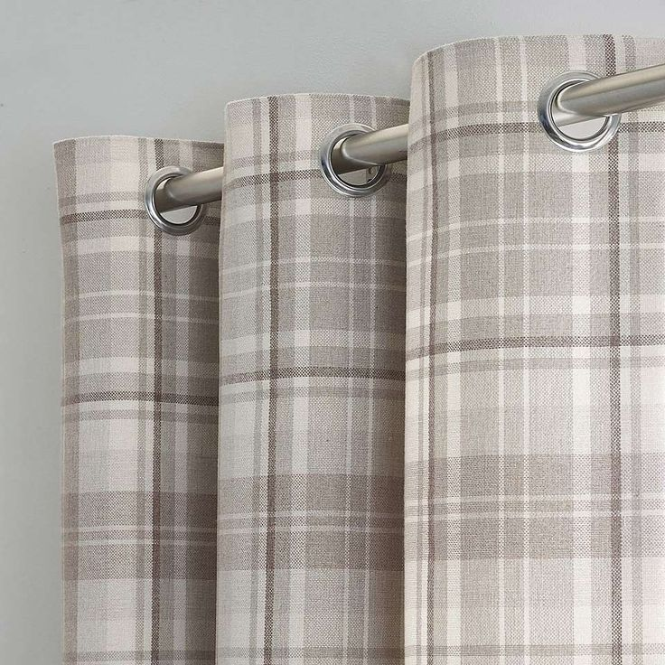 Norfolk Check Natural Eyelet Curtains | Dunelm