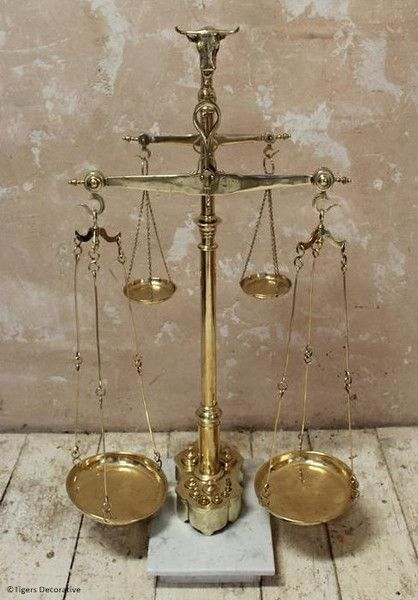 Portuguese Brass Weighing Scales - Antique Weighing Scales - Amazing Kitchen Scales