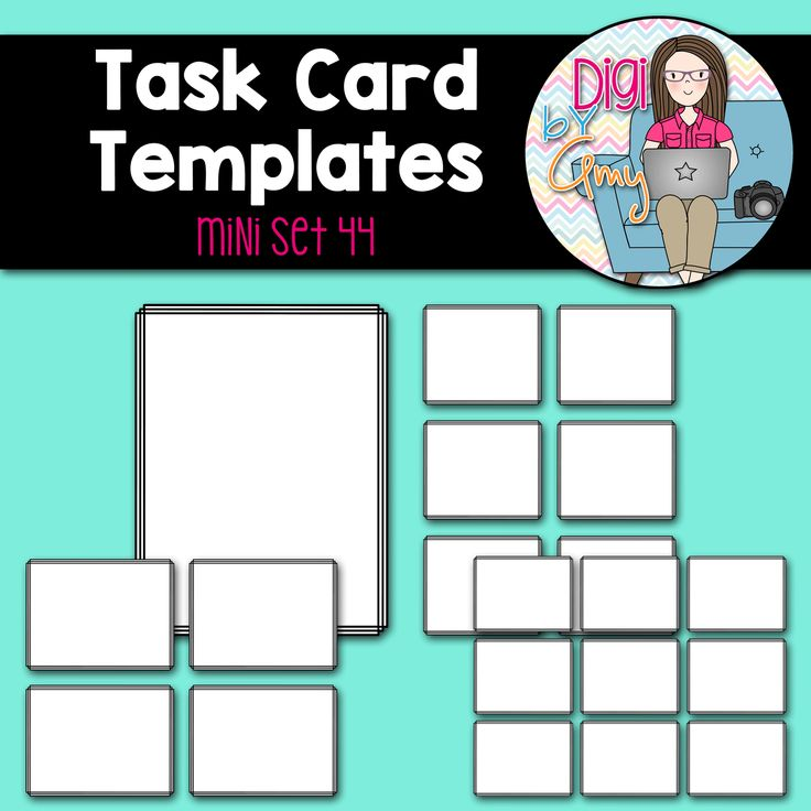 You will receive 3 task card templates and cover page. Files are provided in .png images only and 300 dpi.