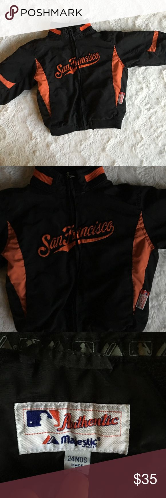 SF Giants Toddler Jacket My granddaughter used it only time only. All items are honestly presented to the best of my knowledge, and are stored in a non-smoking environment. Item is in great condition unless noted. No returns  Please view listing pictures & additional questions are always welcomed. Majestic Jackets & Coats